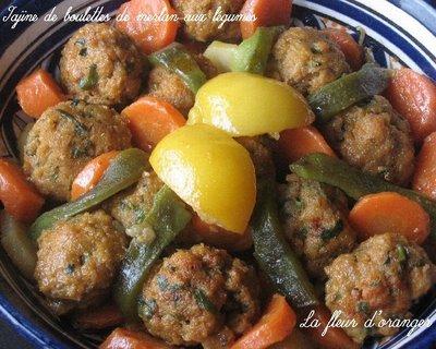 Tajine de boulettes de merlan aux légumes
