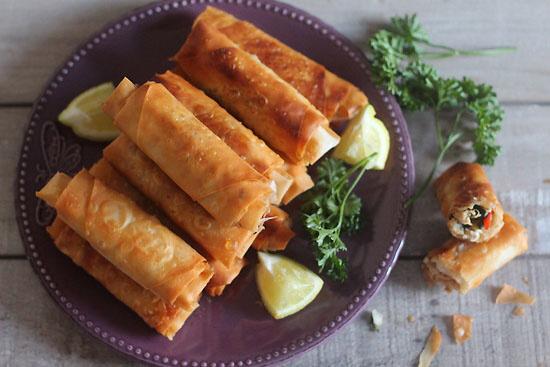 Cigares ou bourek au poulet et légumes