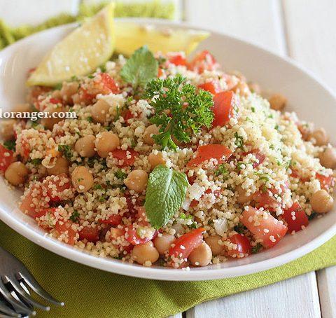 Salade de couscous et pois chiche façon taboulé
