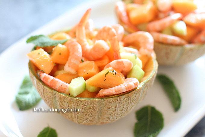 salade melon crevettes