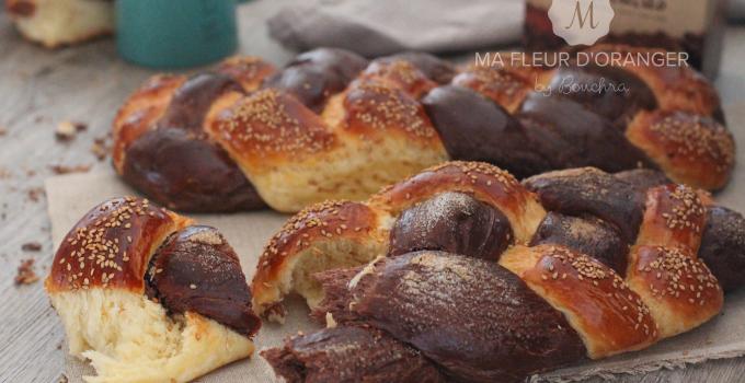Brioche tressées à quatre brins au chocolat et vanille