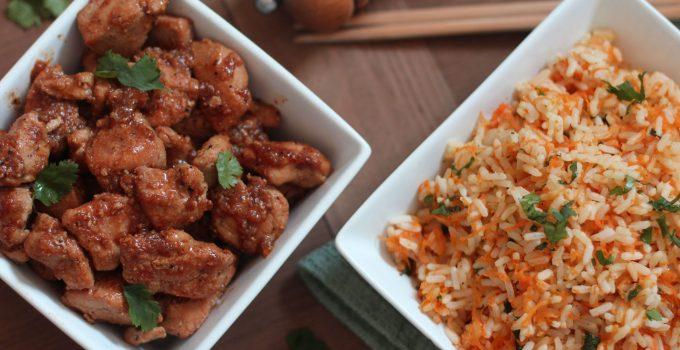 Poulet caramélisé et son riz aux carottes