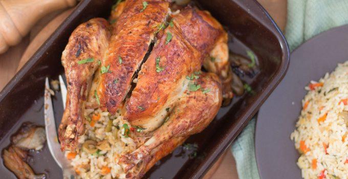 Poulet rôti et farci au riz
